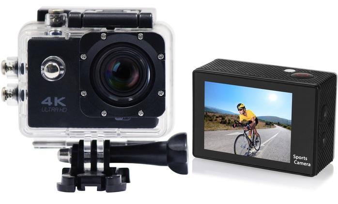 Cámara deportiva 4K Wifi Full HD impermeable con pantalla LCD y 10 accesorios desde 59,90€