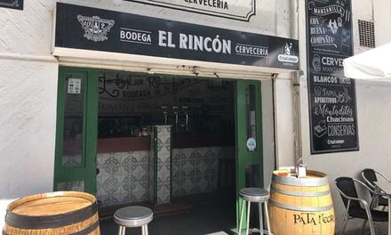 Menú para 2 o 4 personas con media, tosta, postre o café y bebida desde 14,95 € en Bodeguita El Rincón