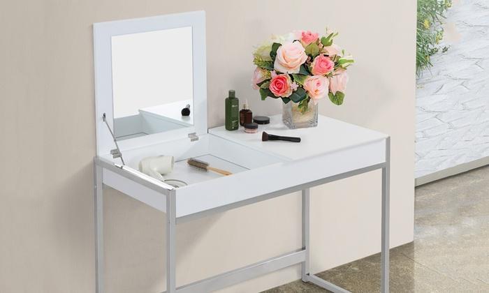schminktisch mit spiegel in wei groupon goods. Black Bedroom Furniture Sets. Home Design Ideas