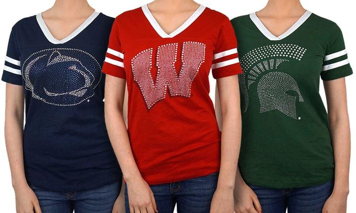 NCAA Women's V-Neck Rhinestone Logo Tee (Teams L-W)