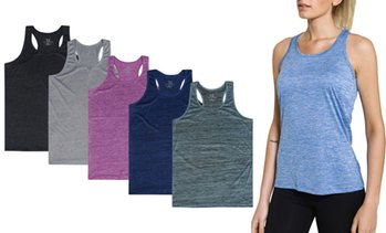 Women's Racerback Tank Top Dry-Fit Athletic Activewear (5-Pack)