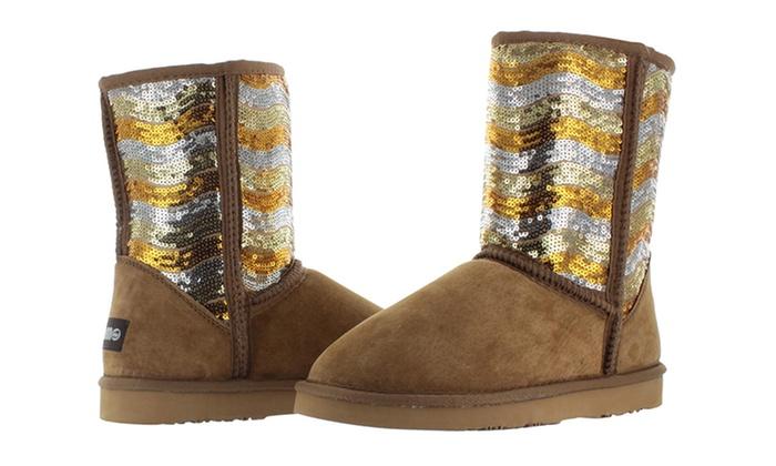 Lamo Women's Faux Sheepskin Sequin Boots