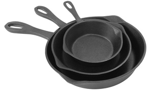 "Bayou Classic 6"", 8"", and 10"" Cast Iron Skillet Set (3-Piece)"