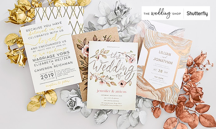 Custom Wedding Invitations The Wedding Shop by Shutterfly Groupon