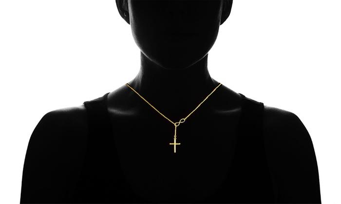 7641804bc478d Italian 18K Gold Infinity Cross Lariat Necklace