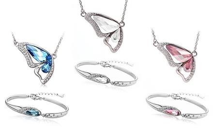 Armband oder Halskette mit Kristallen von Swarovski®verziert in Blau, Pink oder Weiß inkl. Versandkosten (75% sparen*)