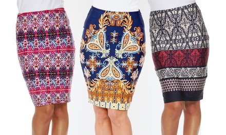 Women's Printed Pencil Skirt with Side Zipper