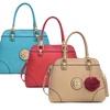 Dasein Fashion Charm Pompom CollectionAngle Satchel Handbag
