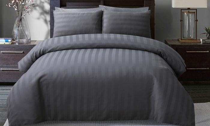 300TC So Soft Satin Stripe Duvet Set