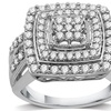1 CTTW Diamond Cluster Ring in Sterling Silver By DeCarat