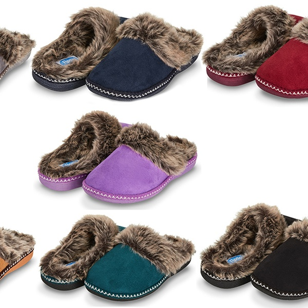 a4d3f412866 Floopi Women s Indoor Outdoor Aztec Two Tone Fur-Lined Clog Slippers with  Memory Foam