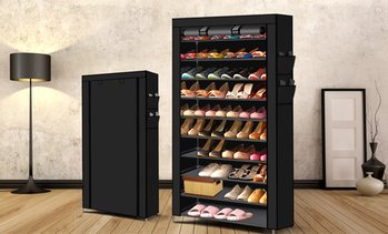 10-Tier Stackable Steel Shoe Rack