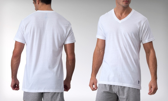 U S Polo Assn White Tees Groupon Goods