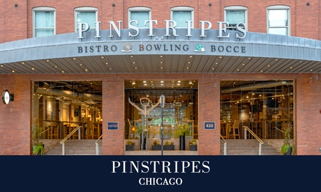 Bowling with Shoe Rental or Bocce for Two or Four at Pinstripes Chicago (Up to 40% Off). Eight Options Available.
