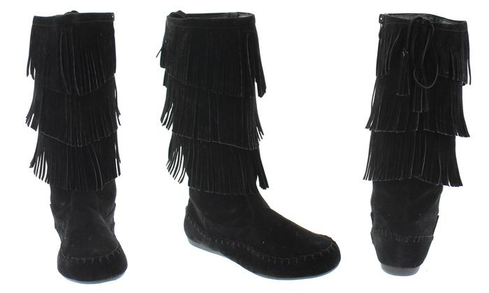 Mata Women's Triple-Layer Fringe Boots (Size 10) | Groupon