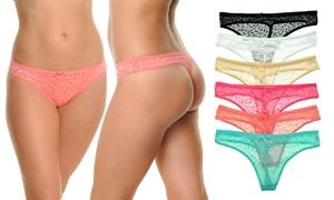 Angelina Leopard-Patterned Mesh G-String Panties (6-Pack)