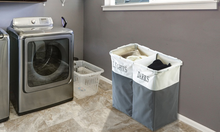 Large Folding Laundry Sorter with Two Separate Compartments From £10