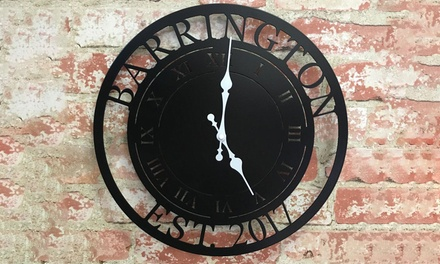"""One 11.5"""" or 14.5"""" Personalized Laser-Cut Steel Clock from Metal Unlimited (Up to 60% Off)"""