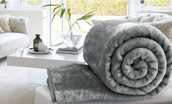 Faux Fur Fleece Throw Blanket