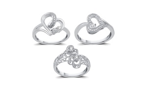 1/6 CTTW Diamond Heart Promise Rings in Sterling Silver by DeCarat