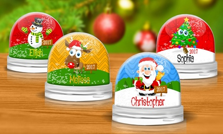 One or Two Personalised Christmas Snow Globes from Dinkleboo (Up to 53% Off)