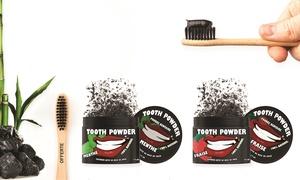 Poudre charbon et brosse à dent