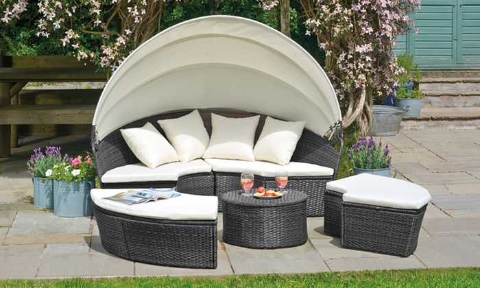 Rattan-Effect Sun Island in Choice of Size and Colour (£309.98)