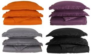 Superior 1500 Series 100% Brushed Microfiber Striped Duvet Cover Set