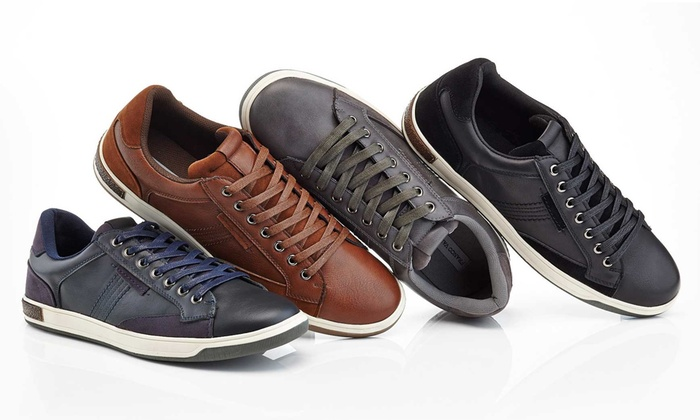17d1054679d7 Franco Vanucci Men's Lace-Up Faux Leather Sneakers | Groupon