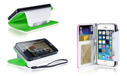 Wallet Case for iPhone 4/4s, iPhone 5/5s, Samsung Galaxy S4, or Samsung Galaxy S5