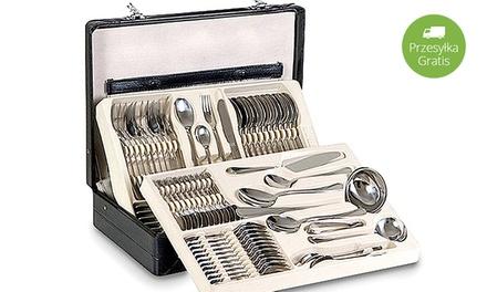 259 zł zamiast 1999 zł: sztućce ze stali nierdzewnej – 72-elementowy komplet w stylowej walizce
