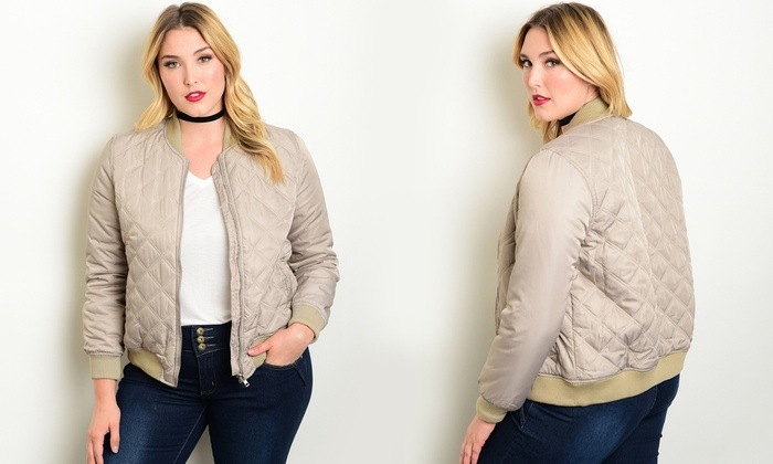 Womens Plus Size Quilted Bomber Jackets Size 2x Groupon
