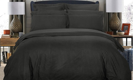 1000TC Ultra Soft Striped Quilt Cover Set: Queen $39, King $49 or Super King $59