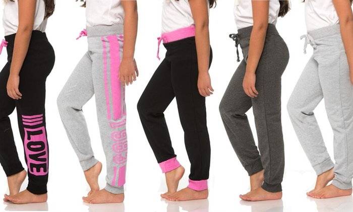 Coco Pink Girls' Assorted Joggers (5-Pack)