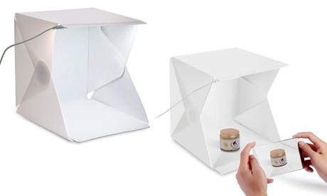 Mini set fotográfico con luz LED, fondos blancos y negros
