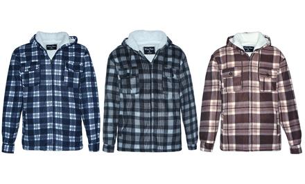 LeeHanTon Men's Hooded Sherpa Lined Fleece Plaid Jacket (S-5XL)