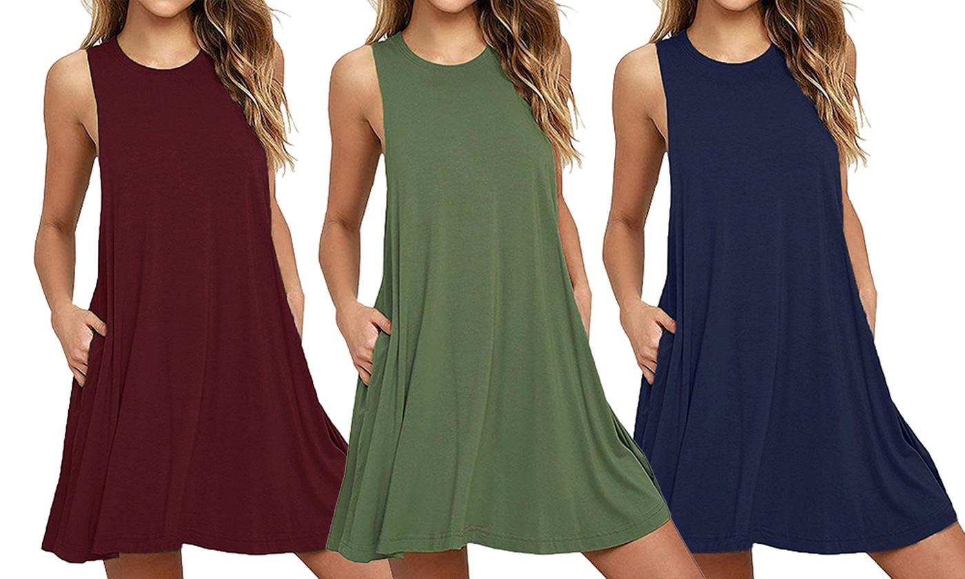 One or Two Sleeveless Cotton-Rich Stretchy Swing Dresses in Choice of Colour and Size