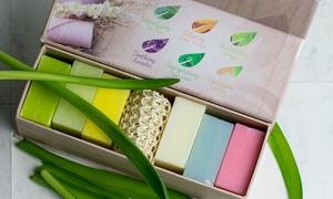 Natural Vegan Bath Soap Gift Box Women w/ Exfoliating Sisal Soap Saver