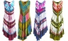 Women's Summer Light Cover-up Tie-Dye Sun Dress with Tropical Print