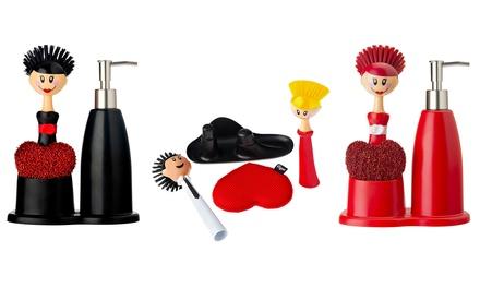 Set dispenser, spazzola e spugna disponibile in 3 colori