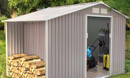 Abri de jardin en métal anti-corrosion, avec abri bûches en option (SaintEtienne)