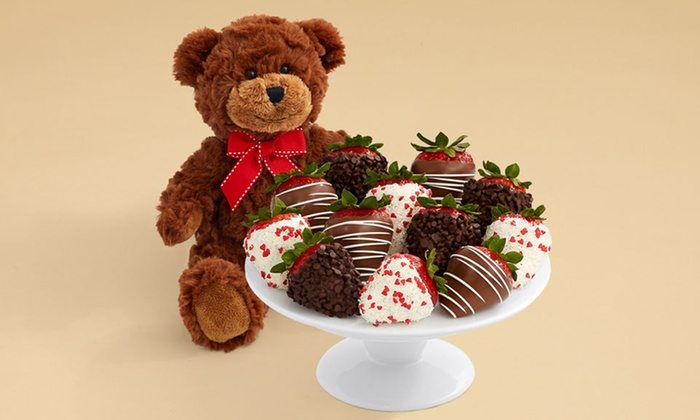 50% Off Teddy Bear and a Full Dozen Valentine's Strawberries