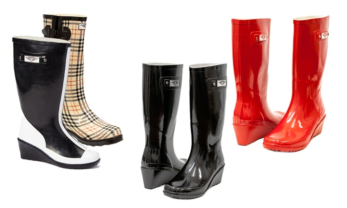 edb760026df Forever Young Women's Wedge Rain Boots | Groupon