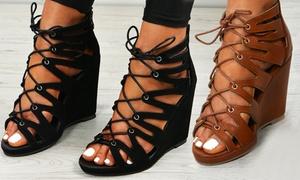(Mode)  Sandales talons compensées lacets