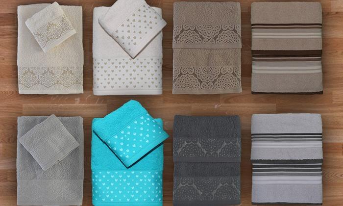 Set asciugamani in spugna Jacquard