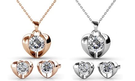 Pendientes y/o collar corazones adornados con cristales de Swarovski®