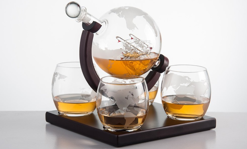 Crystal Globe Whiskey Decanter Set With Glass Ship 1 Or 5 Piece Groupon