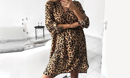 Animal Print V-Neck Dress