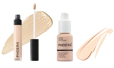 One, Two or Three Phoera Make-Up Foundation and Concealer Sets