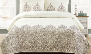 Blissful Living Hamburg Embroidered Quilt Set (3-Piece)